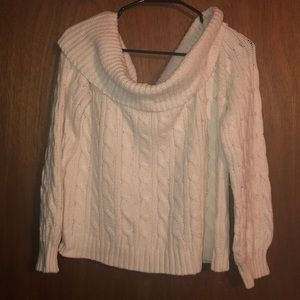 American Eagle cropped cable off shoulder sweater